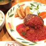 58304042 - 野菜ゴロゴロトマトソースハンバーグ