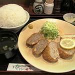 レストラン かつみ - 鶏・豚・牛の3種のメンチカツ定食(ライス大盛)