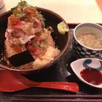 58314319 - 海鮮丼(赤酢 大盛)、鮪白湯コラーゲンスープ小