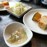 小野の離れ - セットの小鉢2種 おきゅうと と卵焼き・明太・かぼちゃの煮物