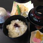 伊くま - [2015年5月]京のおばんざいランチ 天ぷら盛、茶碗蒸し、ご飯とお吸い物