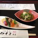 伊くま - [2015年5月]京のおばんざいランチ  冷やし茶そば、八寸