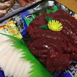 富士竹 - 桜紅白刺し。紅と白を一緒に口に入れますと その食感たるや・・・