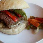 58342203 - イノシシ肉のハンバーガー 自家製ピクルス添え