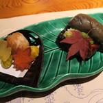 本城 - 秋茄子と鰤照焼き、2色葱タレ 里芋、銀杏、サツマイモ