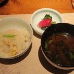 本城 - 栗御飯、豆腐と若芽の味噌汁 香の物