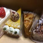 洋菓子工房 ナチュール - 左から、夏いちごのショートケーキ、かぼちゃのパイ、りんごのタルト、生チョコ  H28.11