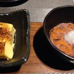 たか濱 - お通し チーズ豆腐とイカの塩辛