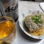 岩崎酒店 - 「大瓶ビール」「湯豆腐」セット(600円込)(2016年11月)