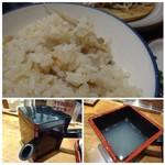 58367209 - ◆炊き込みご飯には「ごぼう」が入っています。少し柔らかめですけれど、お味は好み。                         ◆蕎麦湯