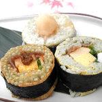 吉廼家 - 三都圓通、三種類の味が楽しめるモロどん寿司です。