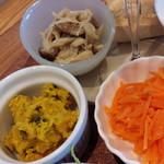 58391198 - かぼちゃサラダ、キノコのマリネ、キャロットラペ