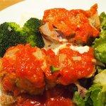 58400842 - ランチセット 1080円 の豚肩ロースのトマト煮とサワークリーム