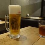 肉炭バル MATOIYA - ランチ生ビール(アサヒ ドライプレミアム)430円