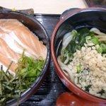 海鮮王 - サーモン丼(中盛り)+小うどん
