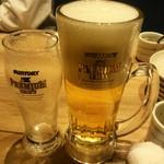 uomori - ジョッキにグラスビールを注ぐとこんな感じ