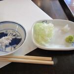 蕎麦 孤丘 - 薬味 塩&ネギ・山葵・大根おろし