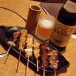 鳥蔵 - 天草大王の焼き鳥でビール♪ 最高に幸せですな~。