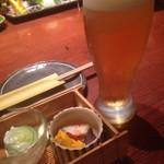 北の台所 おんじき - 生ビールとお通し