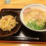 麺屋 無双 - 半チャーハンセット・牛骨ラーメン 880円「