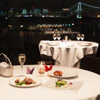 東京湾を眺めながらのディナー