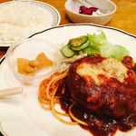 洋食 チャールズ - ハンバーグマスタード焼き定食¥800