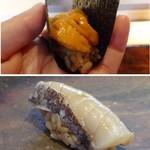 菊鮨 - ◆上:北海道・昆布森の「バフンウニ」。◆下:鰆。軽くスモークされていますので、香りも食感もいい品。