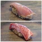 菊鮨 - ◆上:歯鰹。よくいただく品ですけれど、ヅケにするとまた美味しいですね。       ◆下:壱岐産・380kgの鮪。かなり大きな品ですよ。上品な脂を感じ美味しい。