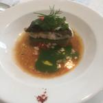 58469728 - [磯魚]                       駿河湾産 鱸のポワレ キャベツのソースと甘海老のソース2種で