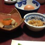 かねいし旅館 - 切り干し大根煮 生玉子  煮物♪(*^^)o∀*∀o(^^*)♪