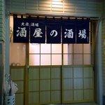 酒屋の酒場 - ここは、自分でガラガラって自分でドアを開けるタイプですね。 暖簾はブルーのショートタイプです。