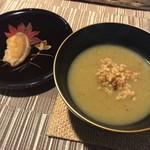 一絲 ito 創作精進料理 - 一絲 itoをかし御膳(¥1,800) 季節の一品(柿の天ぷら)、玄米とサツマイモのスープ