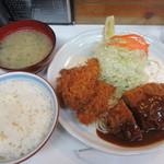 キッチンアオキ - メンチカツとカキフライ定食 1350円