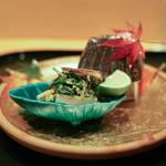 赤寶亭 - 信州産まつたけ、水菜、ホタテのお浸し