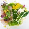 チンギアーレ - 料理写真:本日鮮魚と亀岡の秋野菜サラダ仕立て ほうれん草のソース カラスミ/季節のコースより