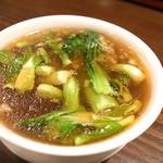 58608446 - 麻婆麺に付いてくる煮干清湯スープ