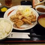 58625593 - 鶏もも唐揚げおろしポン酢定食(\790)