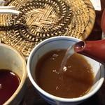 なゝ樹 - 日替わり定食(メバル味噌焼・サンマフライ+蕎麦+とろろ+ご飯+香の物)850円食後の蕎麦湯