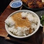なゝ樹 - 日替わり定食(メバル味噌焼・サンマフライ+蕎麦+とろろ+ご飯+香の物)850円とろろご飯