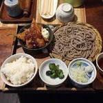 なゝ樹 - 日替わり定食(メバル味噌焼・サンマフライ+蕎麦+とろろ+ご飯+香の物)850円