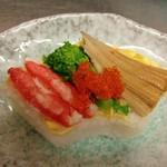 季節料理 利兵衛 - カニと穴子の押し寿司