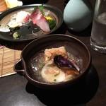 58666024 - 季節の炊き合わせ(蛤・豆腐)カニ餡かけ