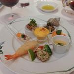 リストランテ 濱崎 - 前菜:かぼちゃのムース、たこのグリル、海老のフリットポルチーニと安穏芋、秋刀魚のやわらか煮
