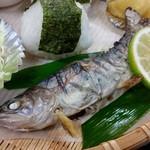 千穂の家 - 「やまめ定食 (1300円)」のヤマメの塩焼き