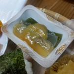 千穂の家 - 「やまめ定食 (1300円)」の「三色刺身こんにゃく」