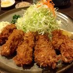 とんかつ大関 - 広島産かきフライ定食   今シーズン初!でかい!美味い!言うことなし!