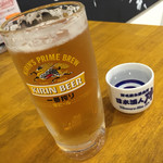 野毛飲み集会所 陣 - 野毛飲み集会所 陣(神奈川県横浜市中区花咲町1-43 2F・3F)生ビールと特別純米酒 鍋島