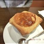 58774365 - シェフ特選スープとデザートセットからきのこのパイ包みスープ