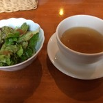 かまやカフェ・デュ・レヴァベール - ランチのサラダとスープ!