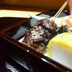 れんこん屋 - 魚のすり身と玉蜀黍の田楽